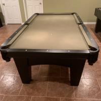 Brunswick 8' Matte Black Slate Pool Table, Rack, Ping Pong Top